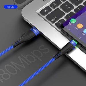 3A Lighting Type C Cable For Xiaomi Redmi Note 7 Samsung Galaxy Huawei P30 Pro Fast Charging USB Type-C USB-C Cable-electronic-betahavit-China-Blue With LED Light-2m-betahavit