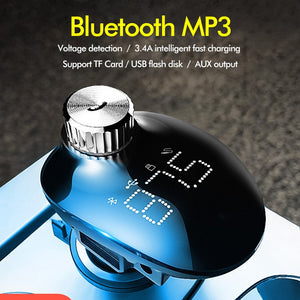 Car Charger With FM Transmitter Bluetooth Car Kit Handsfree Receiver TF Card Audio Music Mp3 Player-electronic-betahavit-Black-betahavit