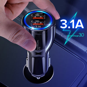 QC 3.0 Car Charger Quick Charge Mobile Phone Charger Dual USB for Huawei Xiaomi Samsung 2 Port USB Fast Car Charger-electronic-betahavit-betahavit