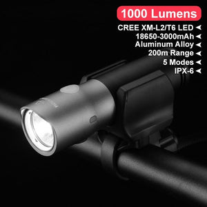 1000 Lumen Bike Bicycle Light Waterproof IPX6 USB Rechargeable 18650 3000 mAh Power LED Bank Flashlight MTB Accessories-outdoor-betahavit-betahavit
