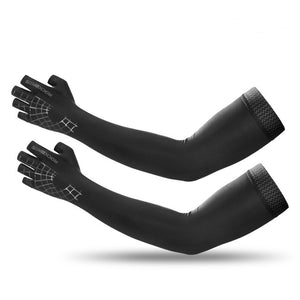 2 In 1 Sport Arm Sleeve Glove Breathable Elasticity Running Hiking Driving Sleeves Arms Warmer Glove For Sun Protection-outdoor-betahavit-Black-M-China-betahavit