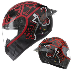 Compact Lightweight Full Face Motorcycle Street Bike Helmet with Extra Tinted Visor DOT Approved-outdoor-betahavit-Frog-Red-XL-betahavit