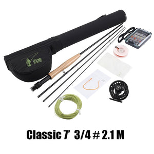 MAXWAY Fly Fishing Kit 7/8/9/10ft 4 Sections Fly Fishing Rod+Reel+Line+Bag+Biat for Lake River Fishing Tackle Combo-outdoor-betahavit-CLASSIC 7ft 34 2.1M-betahavit