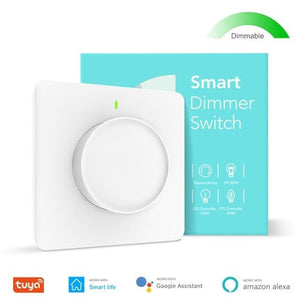 Tuya Smart Wifi Dimmer Light Switch, Smart Home Rotary Dimmable Wall Switch 100-240V, Work with Alexa Google Home Smart Life App-home-betahavit-Smart Dimmer Switch-betahavit