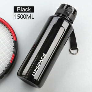 1.5L Water Bottle BPA Free Large Capacity Portable Sport Shaker Drink Bottle Leakproof Drinkware Outdoor Climbing bottle-home-betahavit-1.5L-black-betahavit