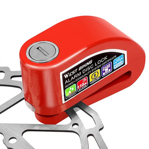 110DB Bicycle Alarm Lock Motorbike Anti-theft Alarm Waterproof Wheel Disc Brake Security Safety Siren Lock Bike Lock-outdoor-betahavit-Red-betahavit