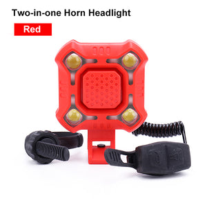 4 Lamp Bike Light with 140dB Horn Alarm Waterproof Cycling Lights USB Charging Flashlight Security Bicycle Light-outdoor-betahavit-Red-betahavit