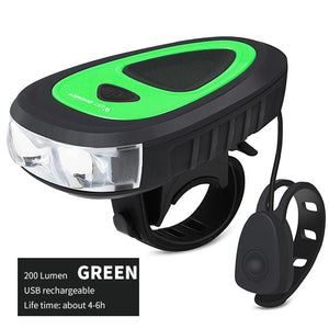 Bicycle Light with Bell 120dB Cycling Front Light 3 Modes 200 lumen USB Charging Flashlight Waterproof Bike Lights-outdoor-betahavit-Black Green-betahavit