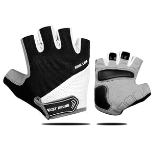 Bike Bicycle Gloves Anti Slip Half Finger Mens Women's Summer Sports Shockproof Bike Glove Breathable Cycling Gloves-outdoor-betahavit-Black-M-betahavit