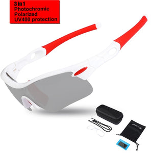 Polarized Cycling Eyewear UV400 Photochromic Sport Goggles MTB Bicycle Hiking Eyewear Men Glass Bike Cycling Glasses-outdoor-betahavit-Red White-China-betahavit