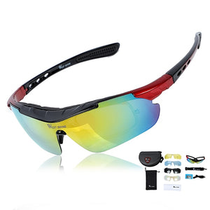 Polarized Cycling Glasses Professional Bicycle Accessories Sun Glasses UV 400 Bike Sunglasses Goggles Eyewear 5 Lens-outdoor-betahavit-Black Red-betahavit