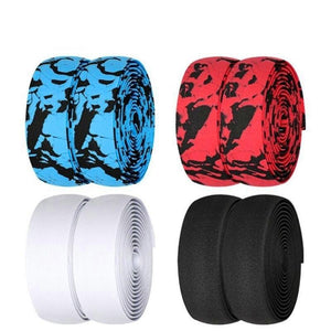 Road Bike Handlebar Tape Damping Anti-Slip Wraps with Bar End Plugs Fishing Rod Cycling Handle Bar Belt Tape 2pcs-outdoor-betahavit-betahavit