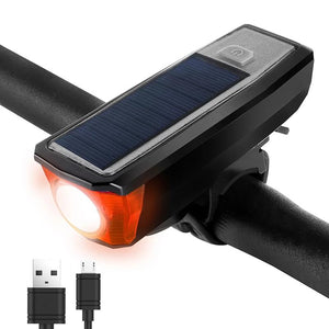 Solar Powered Bicycle Light with Bells Cycling USB Charging Front Lamp 350 Lumen 4 Modes Waterproof Led Bike Lights-outdoor-betahavit-Black-betahavit