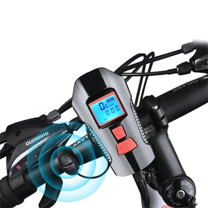 Waterproof Bicycle Light with Bike Computer USB Charging Bike Front Lights Flashlight Horn Cycling MTB Bike Light-outdoor-betahavit-Ordinary Black Blue-betahavit