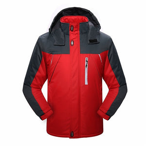 Winter Cycling Jacket Men Thicken Warm Hooded Coat Thermal Fleece Windproof Man's Jackets Windbreaker Bike Jerseys-outdoor-betahavit-Red-5XL-betahavit