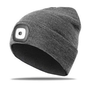 Winter Knit Hat with LED Light Cycling Bike Caps for Man Outdoor Sports Running Hiking Windproof Warm Bicycle Cap-outdoor-betahavit-Gray-betahavit