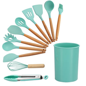 12 Pcs Silicone Cooking Utensils Set Wooden Handle Spatula Shovel Kitchenware With Storage Box Non-Stick Cooking Tools-home-betahavit-12 Pcs Green-betahavit