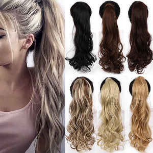 "22"" Long Wavy Wrap Around Clip In Ponytail Hair Extension Heat Resistant Synthetic Natural Wave Pony Tail Fake Hair-hair-betahavit-betahavit"
