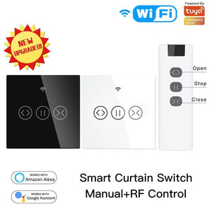 WiFi RF433 Smart Touch Curtain Roller Blinds Motor Switch Tuya Smart Life App Remote Control Works with Alexa Google Home-home-betahavit-betahavit