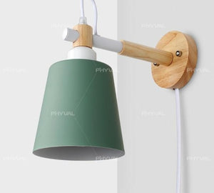 Wood Wall Lamp Nordic Wall Light Line Cable with Knob Switch Dimmer Wall Lamps for Bedroom Dining Room Incandescent Wall Lights-home-betahavit-Green No Bulb-Button Switch-AU Conversion Plug-betahavit