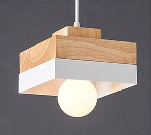 Wooden Nordic Pendant Lights For Home Lighting Modern Hanging Lamp Aluminum Lampshade LED Bulb Bedroom Kitchen Light iron E27-home-betahavit-A Style White NoBulb-betahavit