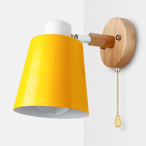 Wooden Wall Lamps Nordic Bedside Wall Light Switch Wall Sconce Modern For Bedroom Macaroon 6 Color Steering Head E27 85-285V-home-betahavit-Yellow-China-betahavit