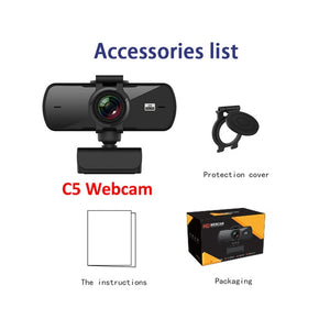 HD 1080P Webcam 2K Computer PC WebCamera with Microphone for Live Broadcast Video Calling Conference Work Camaras Web PC-home-betahavit-C5 Webcam-betahavit