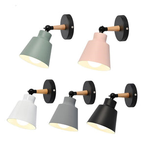 bedroom wall light modern wall lamp wooden wall lights for kitchen dining restaurant Nordic macaroon 5 colors E27 steering head-home-betahavit-betahavit