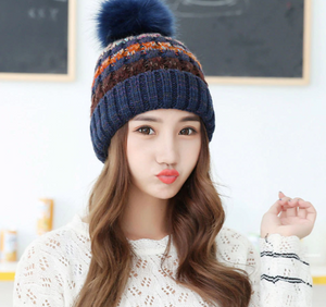 Fur Ball Cap Pompom Winter Hat for Women Girl 's Hat Knitted Beanies Cap Skiing Casual Thick Warm Female Cap-outdoor-betahavit-betahavit