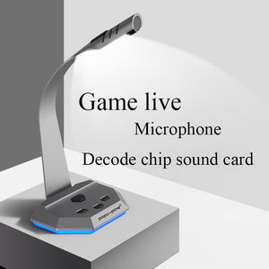 gaming microphone for Computer desktop 2 micraphones for recording Condenser Mic for youtube hd conference led lighting Video-electronic-betahavit-betahavit