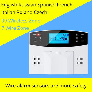 GSM Wired Alarm System Built-in antenna Alarm Systems Security Home Alarm Russian English Spanish Voice with Smoke detector-home-betahavit-betahavit