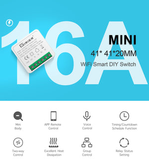 16A Mini Smart Wifi DIY Switch Supports 2 Way Control, Smart Home Automation Module, Works with Alexa Google Home Smart Life App-home-betahavit-Smart Mini Switch-betahavit