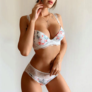 New Black Printing Bras Women Underwear Set Sexy Cotton Push Up Bra Set Thick Brassiere A B C Cup Lace Lingerie Sets White-home-betahavit-White-80A-betahavit