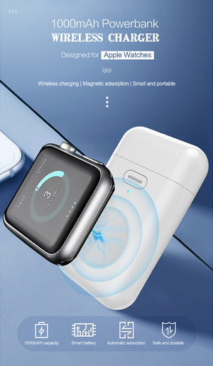 1000mAh Wireless Charger Powerbank For Watch 1 2 3 4 mini power bank For Watch 1 2 3 4 External Battery Charge Case USB-electronic-betahavit-White-betahavit
