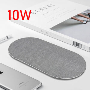 10W Dual QI Wireless Charger for iPhone 11 Pro Max X XS Max XR Cloth Wireless Charging Pad for Samsung Note 10 QC.3.0 adapter-electronic-betahavit-betahavit