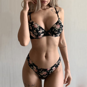 Classic Black Underwear Set Sexy Bras Printing Fashion Push Up Bra Panties sets Thick Cotton Brassiere Lace Women Lingerie Set-home-betahavit-Black-85C-betahavit