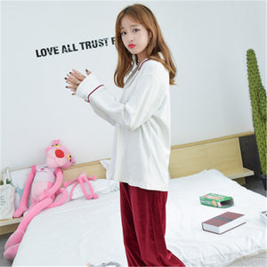 2 Pieces Pajamas Set Top Cotton Trousers Velvet Pants Women Simple Spring Autumn Long Sleeve Suit Pajamas Home wear-home-betahavit-betahavit