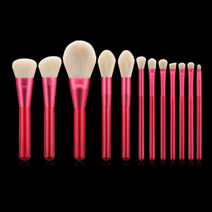 12pcs Red Brushes Set Soft Synthetic Hair Wooden Handle With Foundation Blusher Contouring Eyes Makeup Brush Kit-beauty-betahavit-12pcs Makeup brush-betahavit