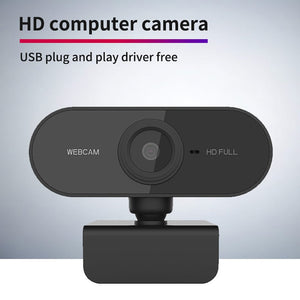 HD 1080P Webcam Mini Computer PC WebCamera with Microphone Rotatable Cameras for Live Broadcast Video Calling Conference Work-home-betahavit-Black-betahavit