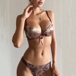 Luxury Printing Underwear Set Women Bow Fashion Red Push Up Bra Panties Sets Sexy Lingerie Embroidery Lace Bra Set Cotton Thick-home-betahavit-Purple-80C-betahavit