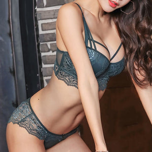 New Top Sexy Underwear Set Cotton Push-up Bra and Panty Sets 3/4 Cup Brand Green Lace Lingerie Set Women Deep V Brassiere Black-home-betahavit-Green-85C-betahavit