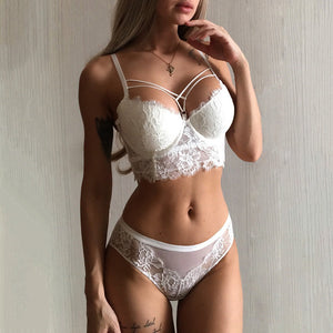 New Top Sexy Underwear Set Green Bras Cotton Brassiere Women Lingerie Set Lace Embroidery Push up Bra Panties Sets Deep V Gather-home-betahavit-White-85C-betahavit