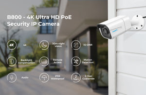 4K ip camera PoE outdoor nightvision IP66 waterproof audio bullet 8MP security camera B800-home-betahavit-Camera-China-betahavit