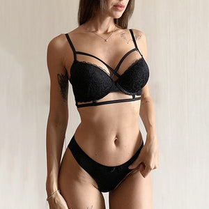 Top Sexy Underwear Set Cotton Thin Brassiere Deep V Push up Bra and Panties Sets Black Lace Embroidery Bras Women Lingerie Set-home-betahavit-Black-75C-betahavit