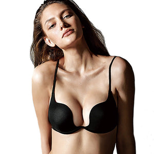 Fashion Backless Bra Lnvisible Lingerie C D Cup Deep U Sexy Bra U Plunge Half Cup Brassiere Black Women Underwear Push Up Bras-home-betahavit-Black-85D-betahavit