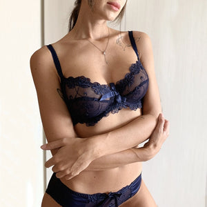 Fashion embroidery bras underwear women set plus size lingerie sexy C D cup Ultrathin transparent bra panties lace bra set black-home-betahavit-Blue-85B-betahavit