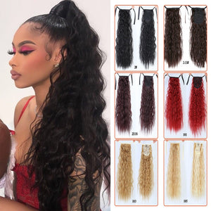"18""22""Kinky Straight Synthetic Ponytail Extensions Clip-in Pony Tail Natural Hair Extension Heat Resistant Hair Pieces-hair-betahavit-betahavit"
