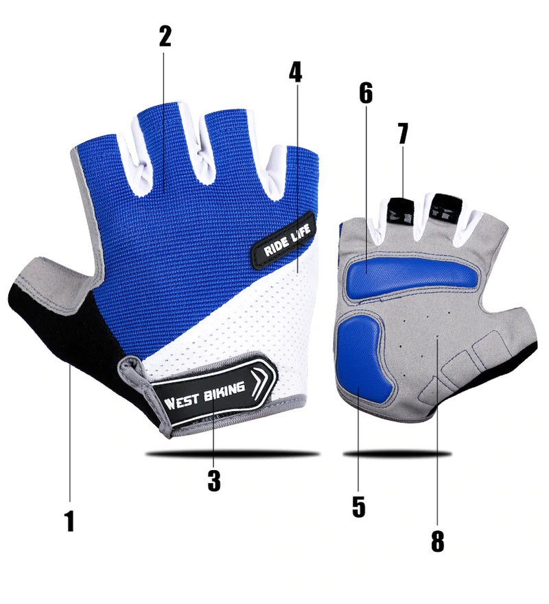 Half Finger Cycling Gloves Anti Slip Bike Gloves Men Sport Bicycle Gloves New