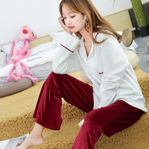 2 Pieces Pajamas Set Top Cotton Trousers Velvet Pants Women Simple Spring Autumn Long Sleeve Suit Pajamas Home wear-home-betahavit-01-L-betahavit