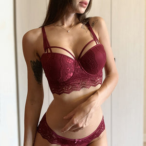 New Top Sexy Underwear Set Cotton Push-up Bra and Panty Sets 3/4 Cup Brand Green Lace Lingerie Set Women Deep V Brassiere Black-home-betahavit-Burgundy-80A-betahavit